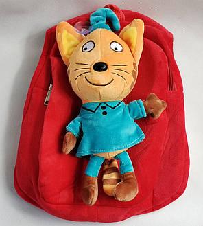 Детский рюкзак три кота красный, фото 2