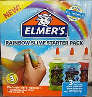 """Набор для изготовления слаймов """"Радуга"""" Клей Элмерс 3 шт. 530мг, Elmer's Rainbow slime starter kit. Оригинал, фото 1"""