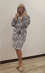 Короткий теплий халат Леопардик