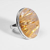 Серебряное кольцо с волосатиком рутиловым кварцем, 23*16 мм., 1219КВ