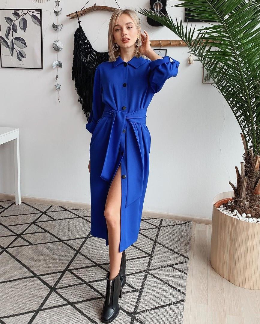 Платье свободное (цвет - электрк, ткань - креп костюмка класса люкс) Размер S, M, L (розница и опт)
