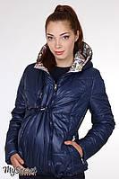 """Демисезонная двухсторонняя куртка для беременных """"Floyd"""", синий с цветочным принтом"""