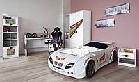 Кровать машина белая + Мебель в детскую комнату (шкаф и стол) для девочки и мальчика, фото 1