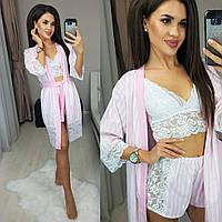 Женский пижамный комплект с халатом, фото 1