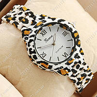 Часы наручные женские Geneva Platinum White-leopard/White