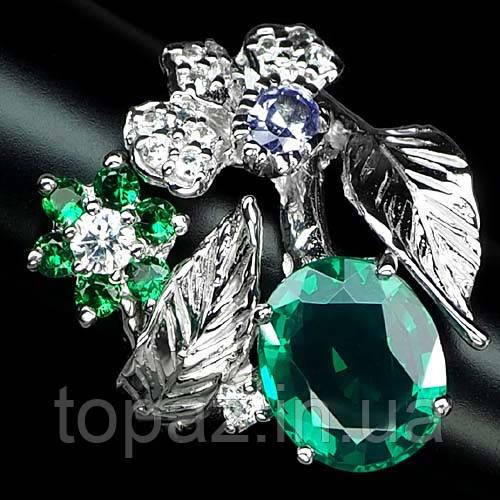 Кольцо серебряное 925 натуральный цаворит гранат, белый и синий сапфир.