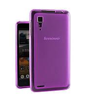 Чехол силиконовый прозрачный для Lenovo P780 фиолетовый