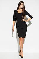 Приталенное черное женское офисное платье, фото 1
