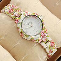 Часы наручные женские Geneva Platinum White-flower/White