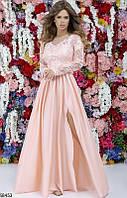 Вечернее красивое длинное платье женское шелк+гипюр 42-46 размеров, 5 цветов