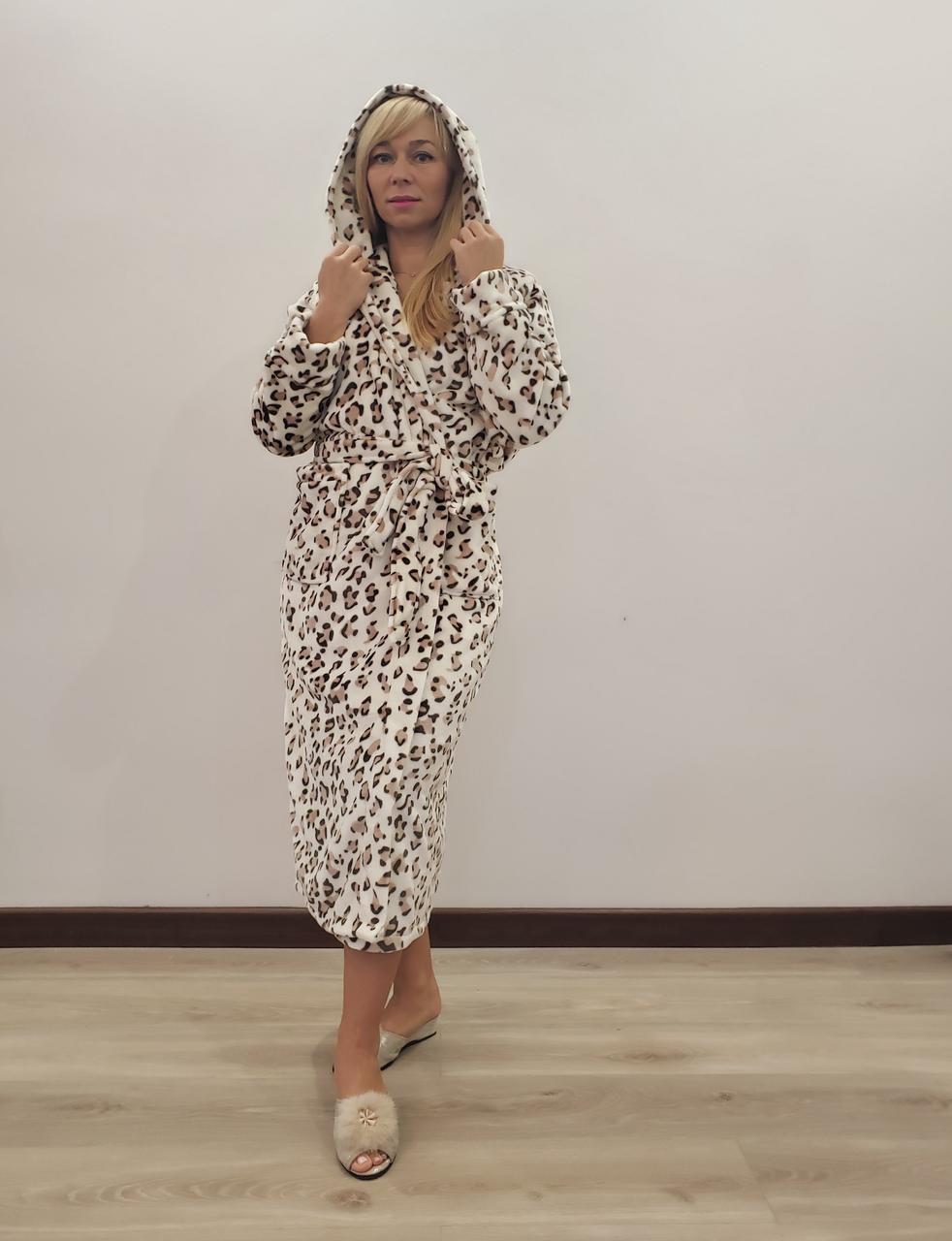 Длинный теплый халат Леопардик
