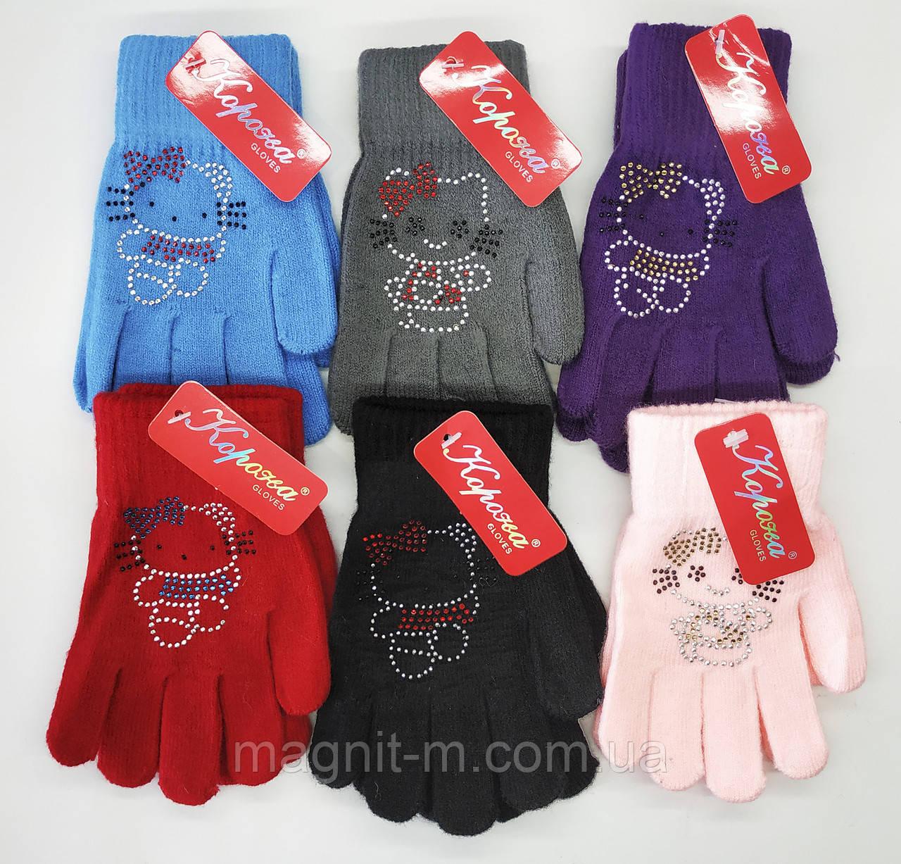 "Перчатки детские ""Корона"". Hello Kitty из страз. Размер М (5-7 лет). E5663."
