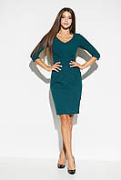 Приталенное темно-зеленое повседневное платье, фото 1