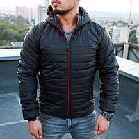 Курточка мужская черная осенняя утепленная качественная с капюшоном