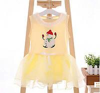 Платье детское с снеговиком желтая