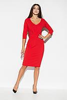 Красное платье с V-образнымвырезом, фото 1