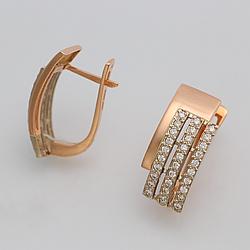 Золотые серьги с фианитами дорожка СП360