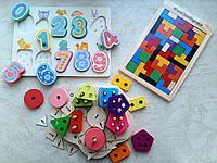 """Деревянный набор развивающих игрушек """"Геометрика"""""""