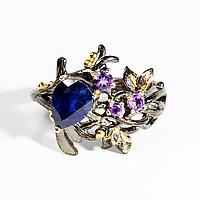 Серебряное кольцо с сапфиром и аметистом, 1220КС