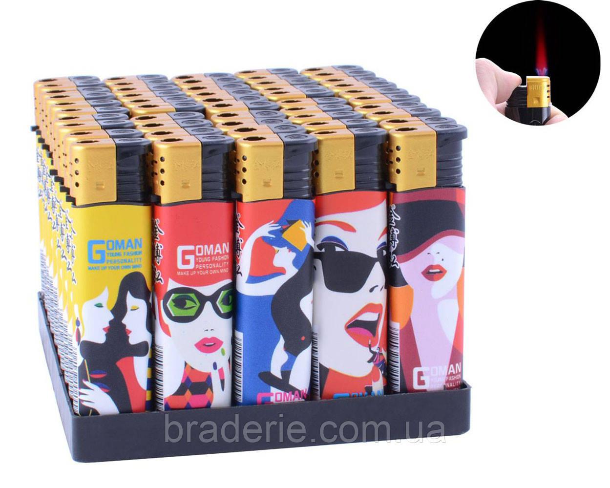 Зажигалка пластиковая газовая турбо пламя Goman 909-17 упаковка 50 штук