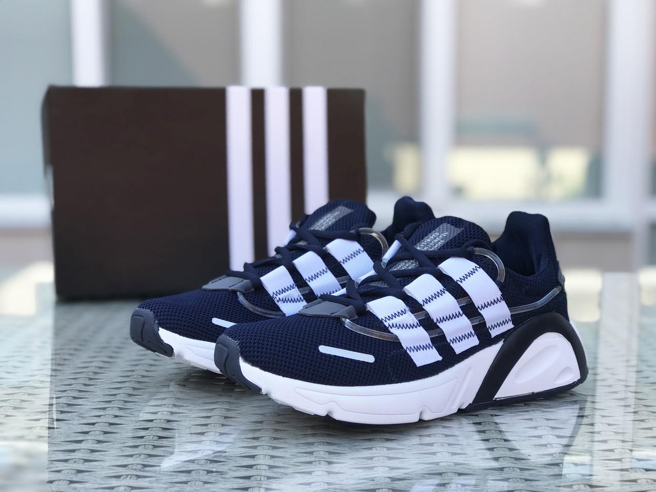 Кроссовки мужские Adidas LXCON плотная сетка,темно синие с белым