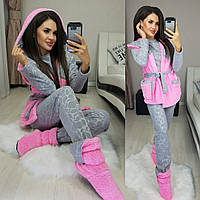 Женская махровая пижама тройка с тапочками