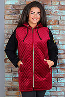 Теплая женская куртка из пальтового велюра на синтепоне и трикотажа тринитка
