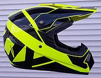 Кроссовый мото шлем чёрно салатовый эндуро Fox размер L 59-60