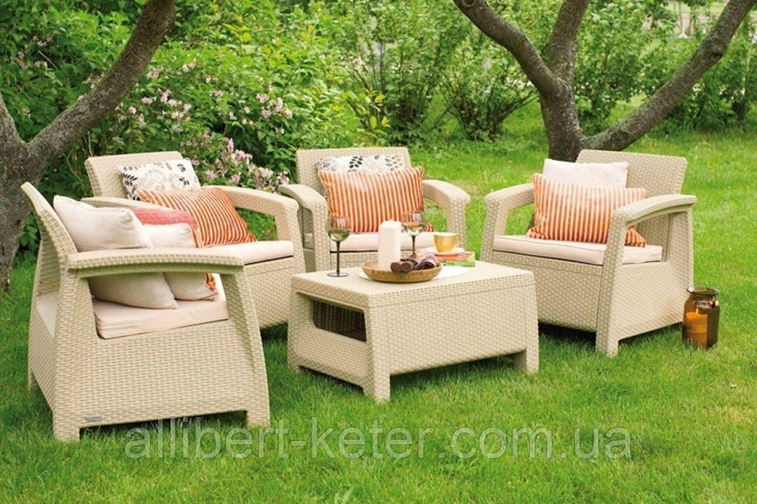 Allibert Corfu Quattro Set садовая мебель из искусственного ротанга