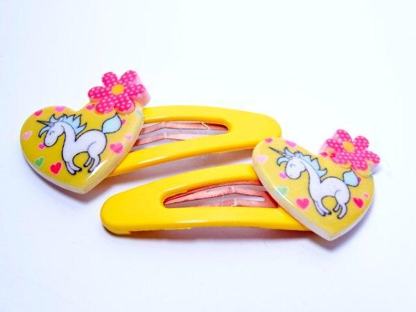 """Детские заколки пара """"Единорог в сердце"""" желтые"""
