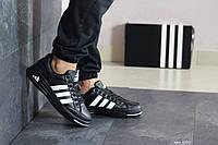 Мужские кроссовки в стиле Adidas ilie nastase, кожа, пена, черные с белым 43 (27,5 см)