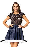 Красивое женское платье приталенного кроя. р-ры 40, 42, 44, 46  Круглый неглубокий вырез горловины и короткие
