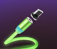 Магнитный светодиодный кабель для зарядки iPhone шнур светящийся магнитный iPhone(Lightning)(1метр)Салатовый