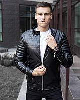 "Куртка бомбер мужской стеганый Pobedov Jacket ""Birmingham"" Black из кожзама"