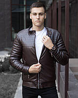 "Куртка бомбер мужской стеганый Pobedov Jacket ""Birmingham"" Brown из кожзама"
