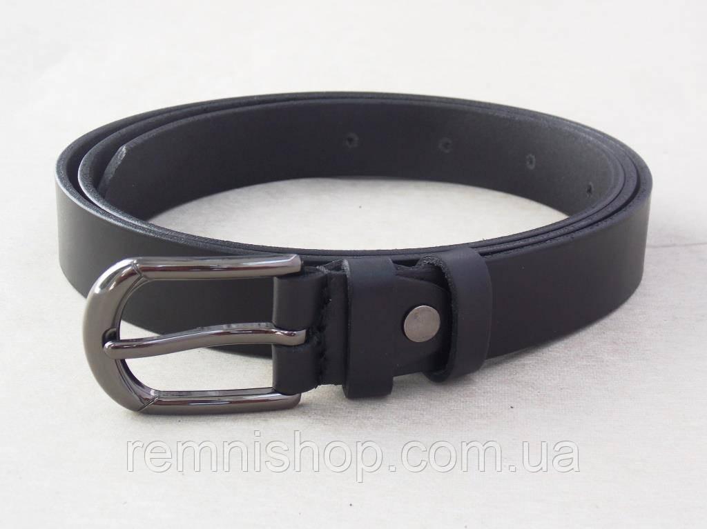 Женский кожаный тонкий ремень черного цвета