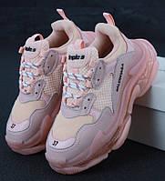 Женские кроссовки Balenciaga Triple S Pink (Баленсиага Трипл С)