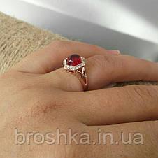 Позолоченное кольцо с розовым камнем Swarovski, фото 3