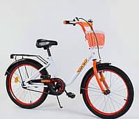 """Велосипед 20"""" дюймов 2-х колёсный 2085 """"CORSO"""", новый ручной тормоз, корзинка, звоночек, подножка"""