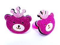 """Детские резинки пара """"Мишка с короной"""" розовые"""