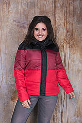 Жіноча осіння дута куртка з плащової тканини на синтепоні, зі знімним капюшоном, батал великі розміри