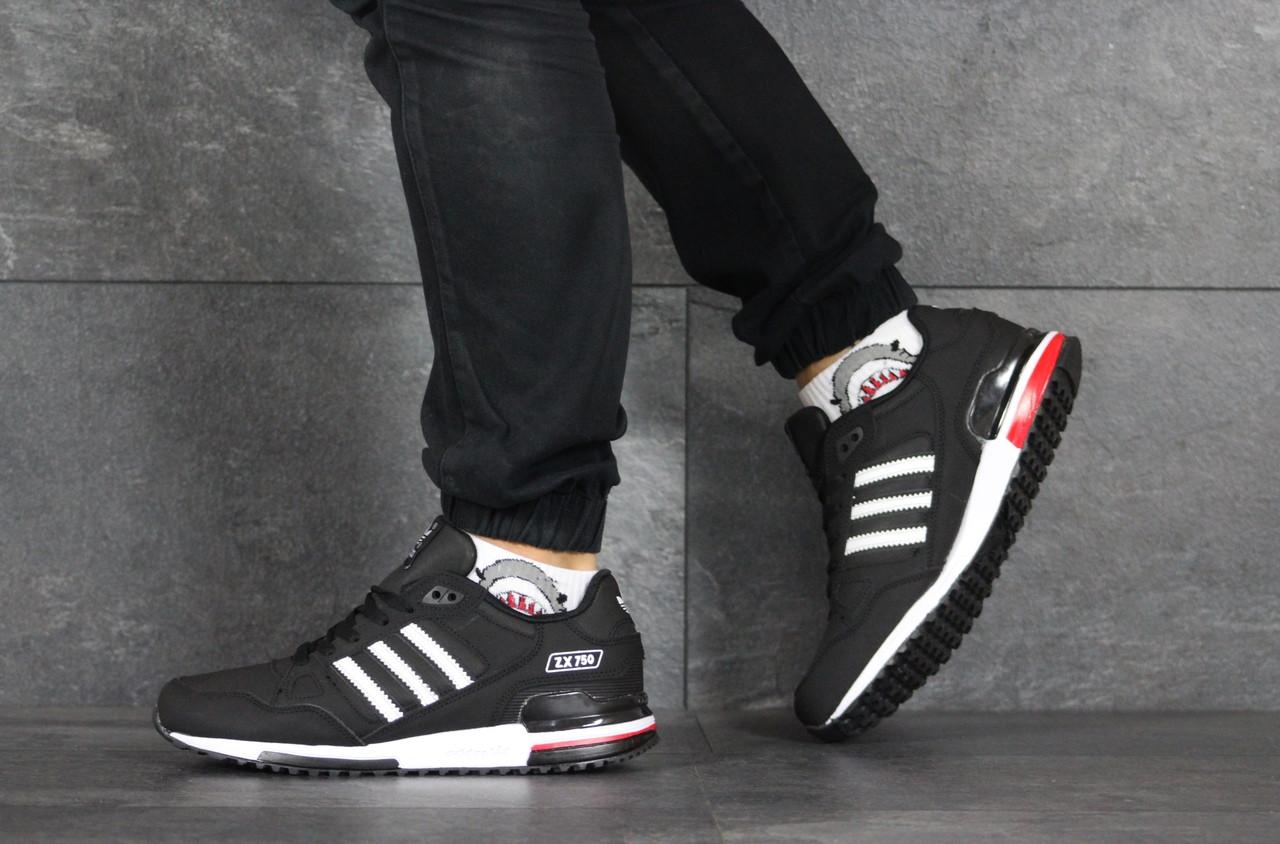 Мужские кроссовки Adidas ZX 750,черно белые