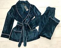 Женская пижама кофта на запах и штаныдля дома и сна, велюровая пижама