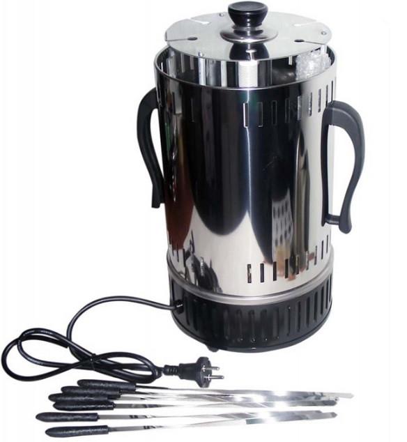 Электрошашлычница Помощница с таймером на 6 шампуров (нержавеющая сталь)