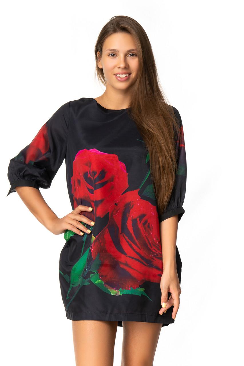 Эффектное платье с красными розами (42-44)