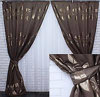 """Комплект готових штор из ткани льон з візерунком """"листя"""", колір коричневий. Код 369ш"""