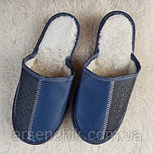 """Домашние кожаные тапочки мужские """"Polmar""""  на овчине 40"""
