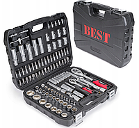 Набір головок ключі 108 BEST в чорному чемодані з металевими защолками, ключі для дому і авто Польща