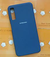 Чехол Silicone Cover Samsung A750 (A7 2018) (Dark blue)