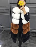 Женская меховая жилетка трёхцветная из искусственного меха Купить недорого в интернет-магазине Украина!, фото 1
